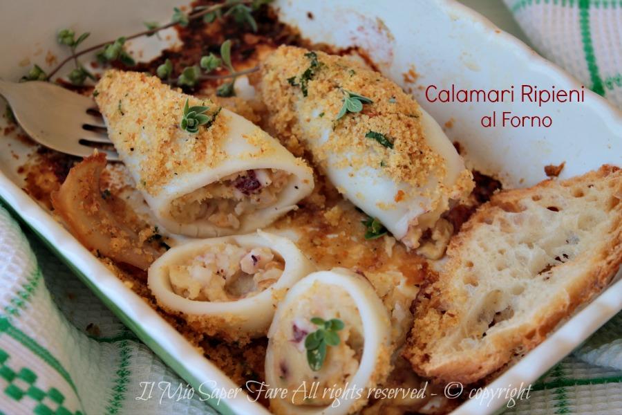 Calamari al forno ripieni ricetta facile e gustosa il mio saper fare