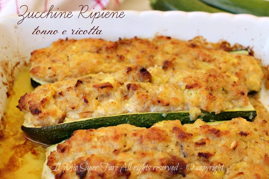 Ricetta Zucchine Ripiene Con Tonno.Zucchine Ripiene Tonno E Ricotta Ricetta Facile