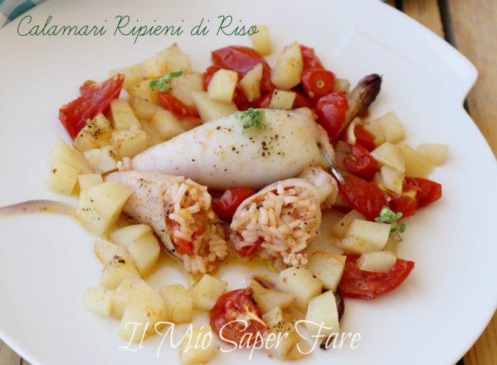 Calamari ripieni di riso con patate e pomodorini il mio saper fare