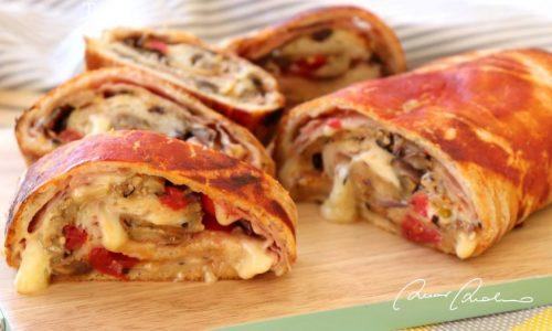 Rotolo pizza veloce con melanzane grigliate