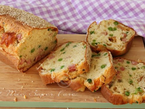 Torta salata piselli e prosciutto cotto senza lievitazione