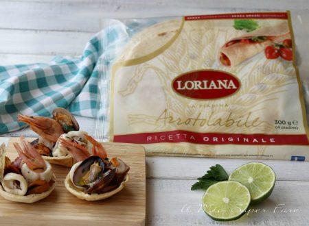 Cestini di piadina con insalata di mare croccanti e gustosi