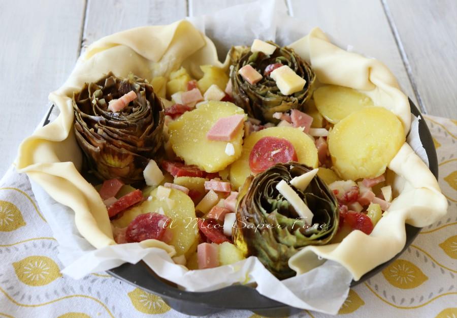 Torta salata carciofi e patate ricetta senza uova facile e veloce il mio saper fare