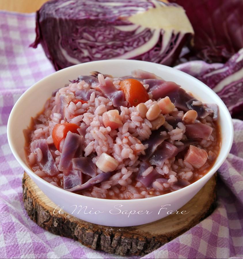 Cavolo viola con riso fagioli e pancetta ricetta minestra il mio saper fare