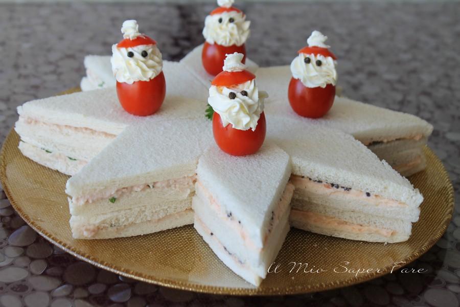 Stella di tramezzini assortiti antipasti Natale ricette il mio saper fare