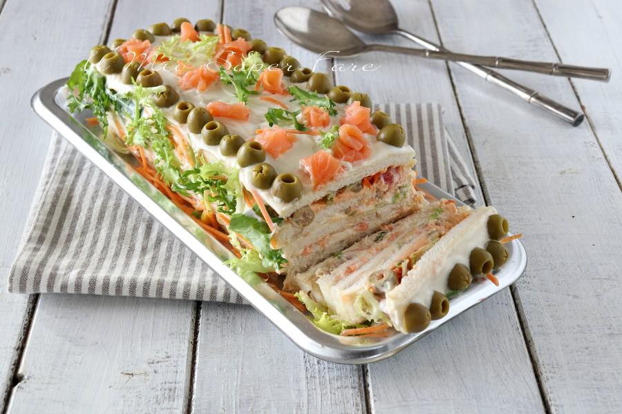 Sandwich cake ricetta torta di tramezzini il mio saper fare