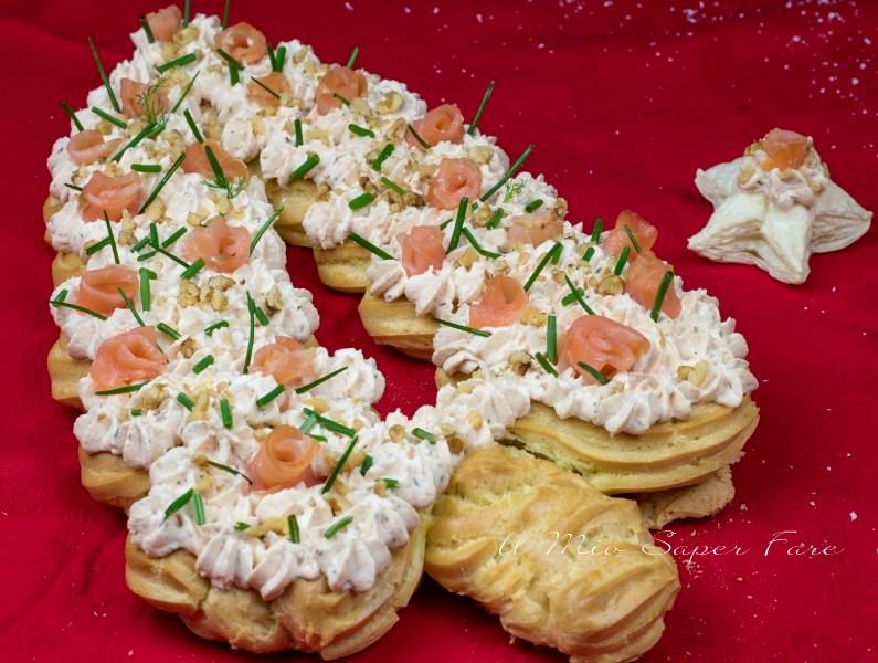 Albero di Natale eclair salato al salmone ricetta il mio saper fare