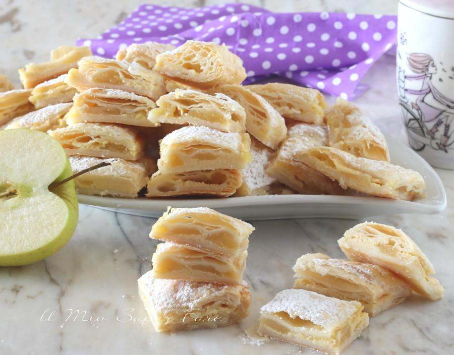 Quadrotti di mele e crema ricetta con pasta sfoglia il mio saper fare