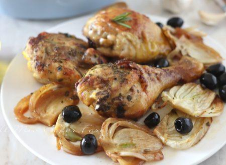 Pollo con finocchi e olive all'arancia