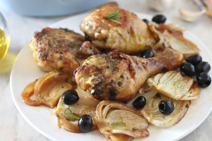 Pollo con finocchi e olive all'arancia ricetta il mio saper fare