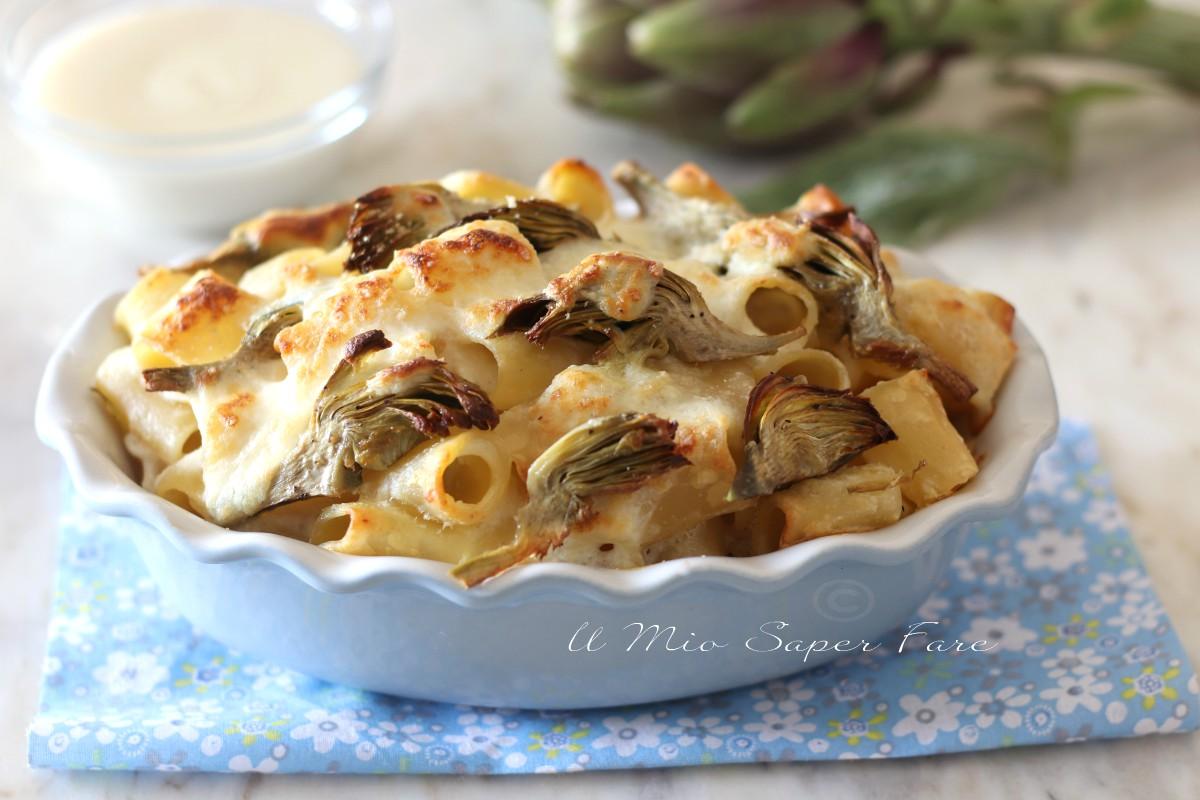 Pasta al forno con carciofi e ricotta ricetta primo piatto gratinato il mio saper fare