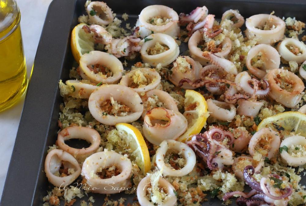 Calamari gratinati al forno con panatuta al limone ricetta il mio saper fare