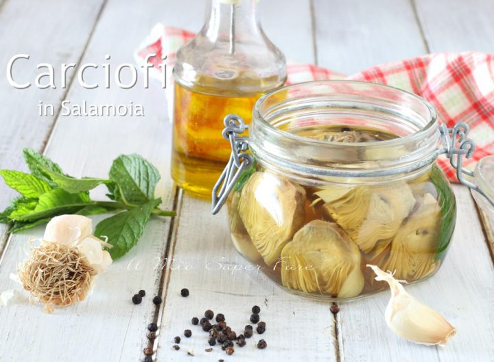 CARCIOFI in SALAMOIA ricetta per conservare i carciofi al naturale senza olio  il mio saper fare