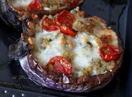 MELANZANE al forno RIPIENE con mozzarella pane e pomodori ricetta antipasto contorno