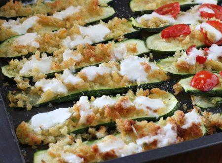 Come fare le ZUCCHINE GRATINATE con pane mozzarella ricetta contorno