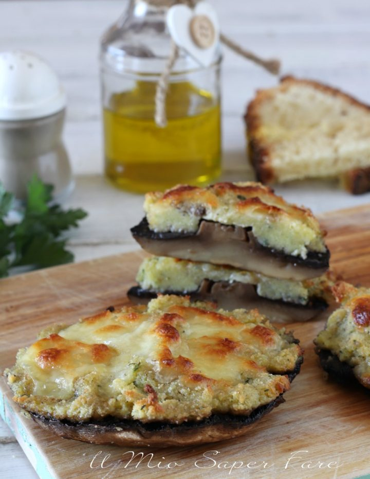 Funghi Portobello ripieni gratinati al forno ricetta il mio saper fare