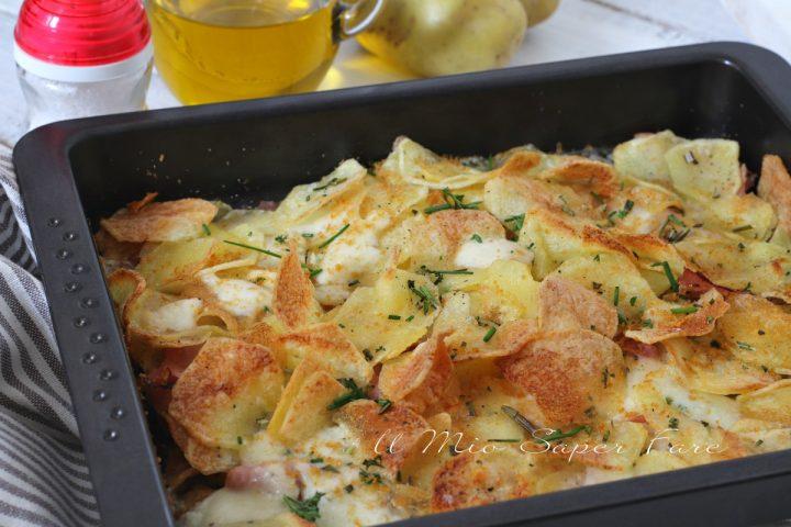 Sfoglie di patate croccanti al prosciutto cotto e mozzarella ricetta il mio saper fare