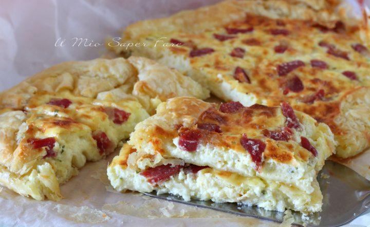 Pasta sfoglia con mozzarella e pancetta ricetta torta salata il mio saper fare