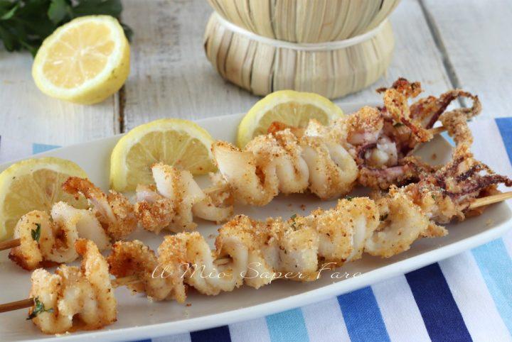 Spiedini di calamari gratinati al forno ricetta il mio saper fare