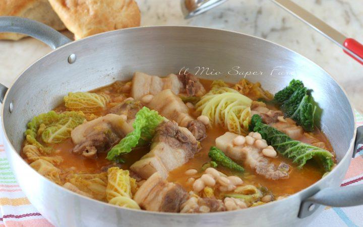 Zuppa di fagioli con verza e pancetta di maiale ricetta il mio saper fare