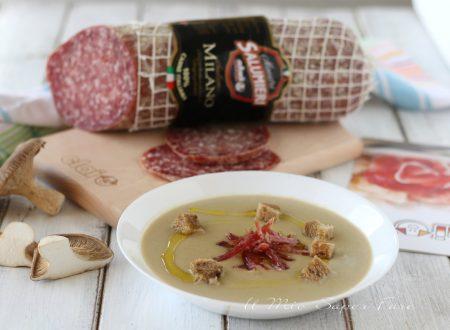Vellutata di patate e funghi con salame Milano Clai