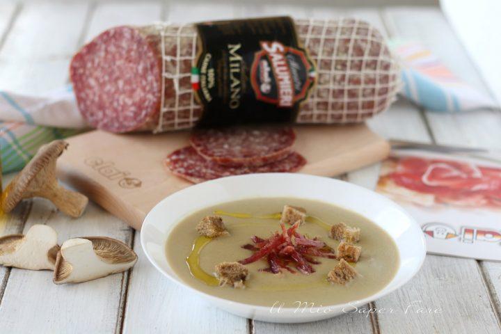 Vellutata di patate e funghi con salame Milano Clai il mio saper fare