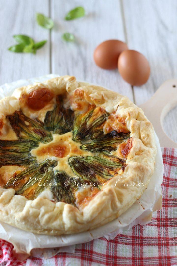 TORTA salata con FIORI di ZUCCA ricetta con PASTA SFOGLIA Il mio saper fare