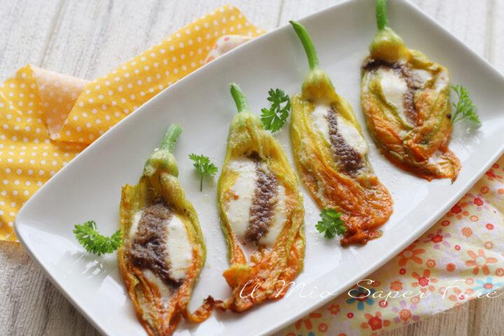FIORI di ZUCCA alla ROMANA ripieni con alici e mozzarella ricetta il mio saper fare