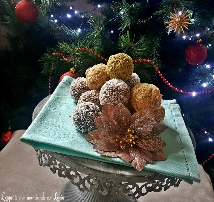 Palline di pan di spagna ai tre cioccolati