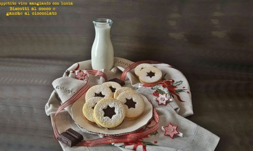 Biscotti al cocco e ganache al cioccolato