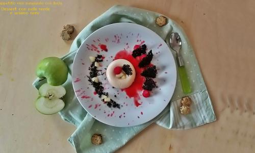 Dessert con mela verde e sesamo nero