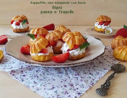 Bignè panna e fragole