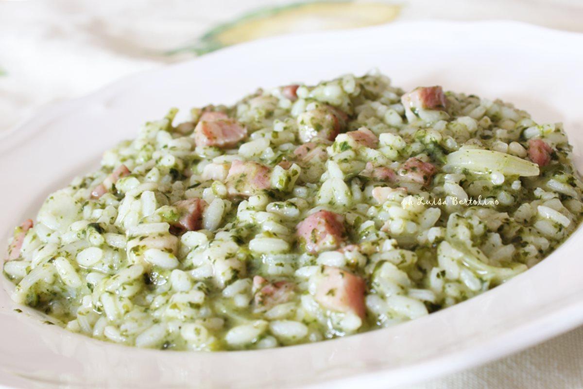 Risotto con spinaci e pancetta