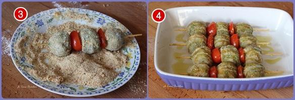 Spiedini di polpette di pollo agli spinaci