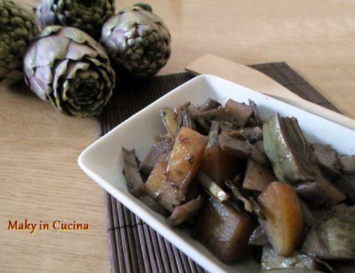Carciofi e patate al vino rosso