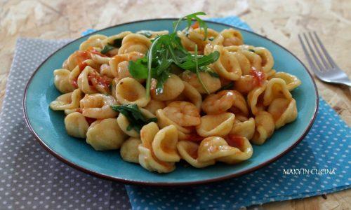Orecchiette gamberi rucola e pomodorini