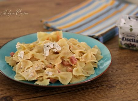 Farfalle robiola alle olive e pancetta