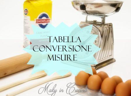 Tabella conversione misure