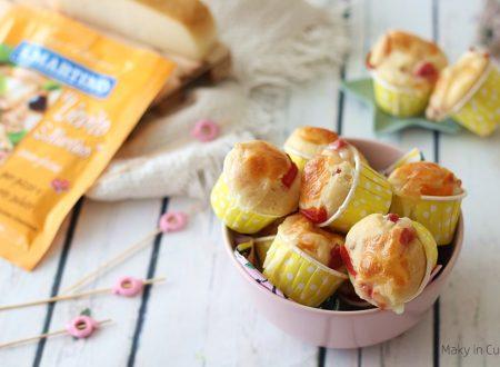 Mini muffin salati con peperoni pancetta e provola