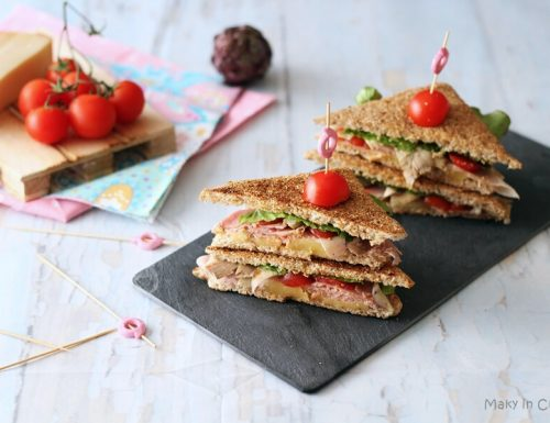 Club Sandwich carciofi e prosciutto cotto arrosto