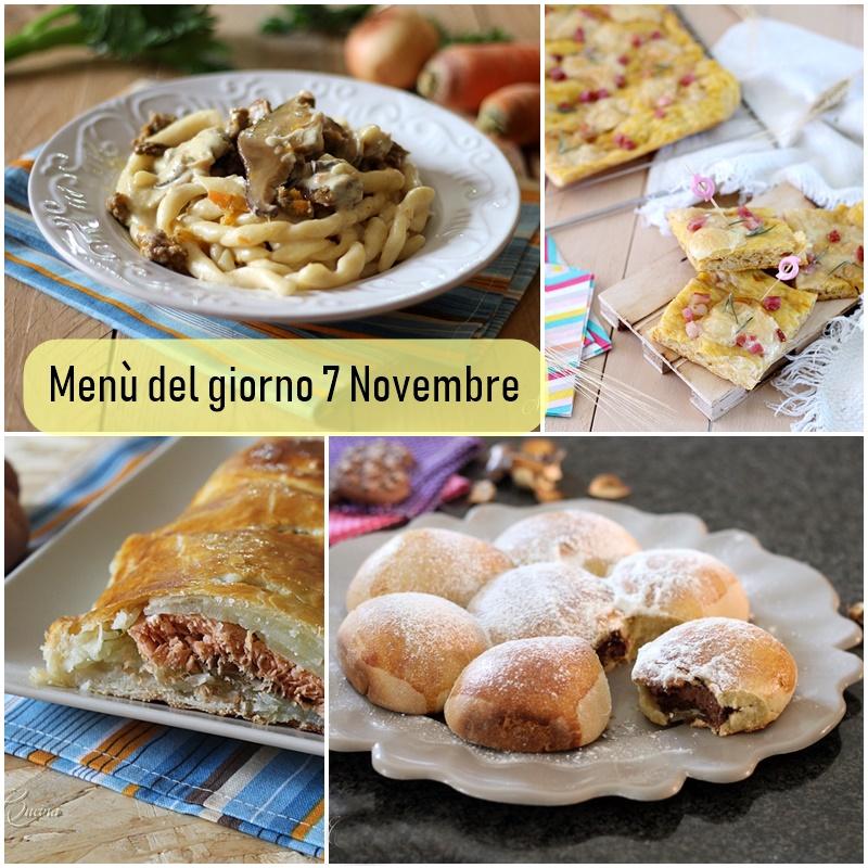 menù del giorno 7 novembre