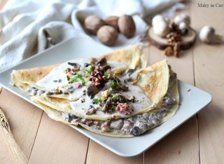 Crepes salate con crema di noci funghi e speck