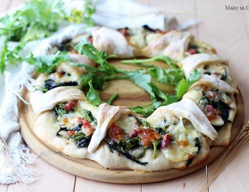 Fiore di pizza cime di rapa pancetta e provola