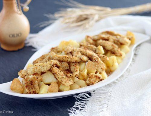 Straccetti di pollo croccanti con patate in padella