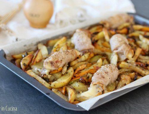 Involtini di maiale con patate peperoni e cipolle