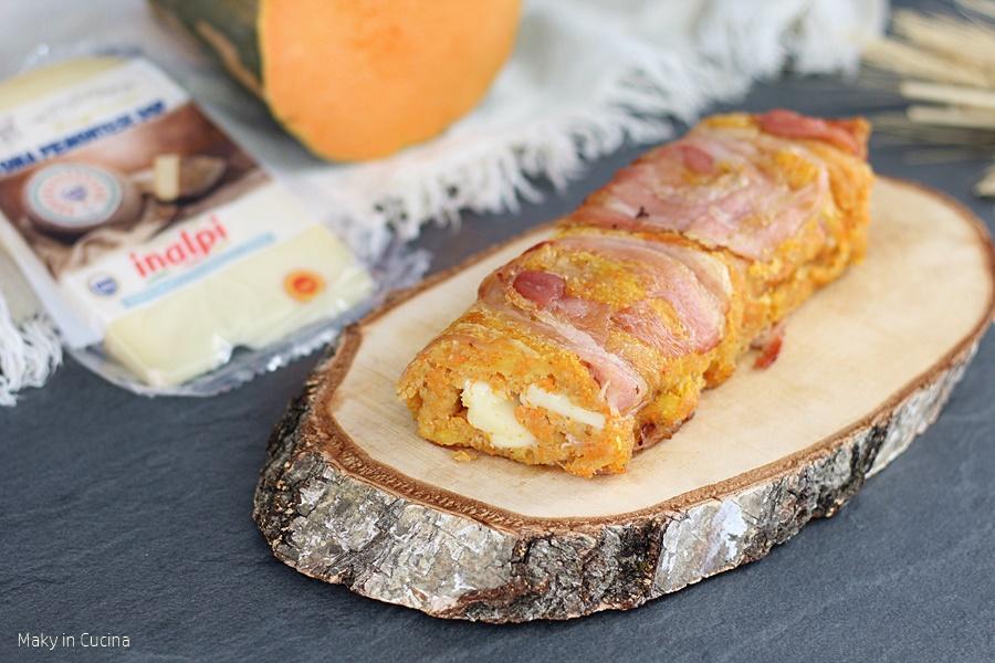 Rotolo di zucca e patate in crosta di pancetta