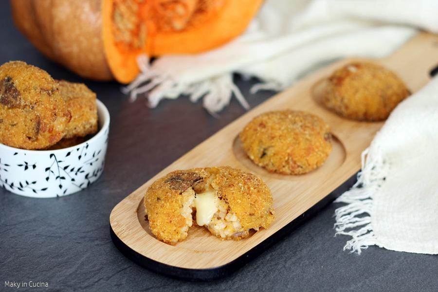 Crocchette di riso con zucca e funghi