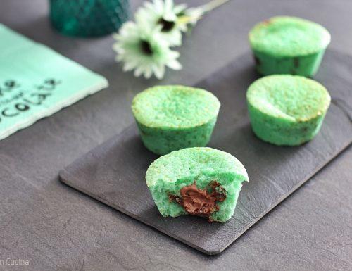 Muffin alla menta e cuore di Nutella