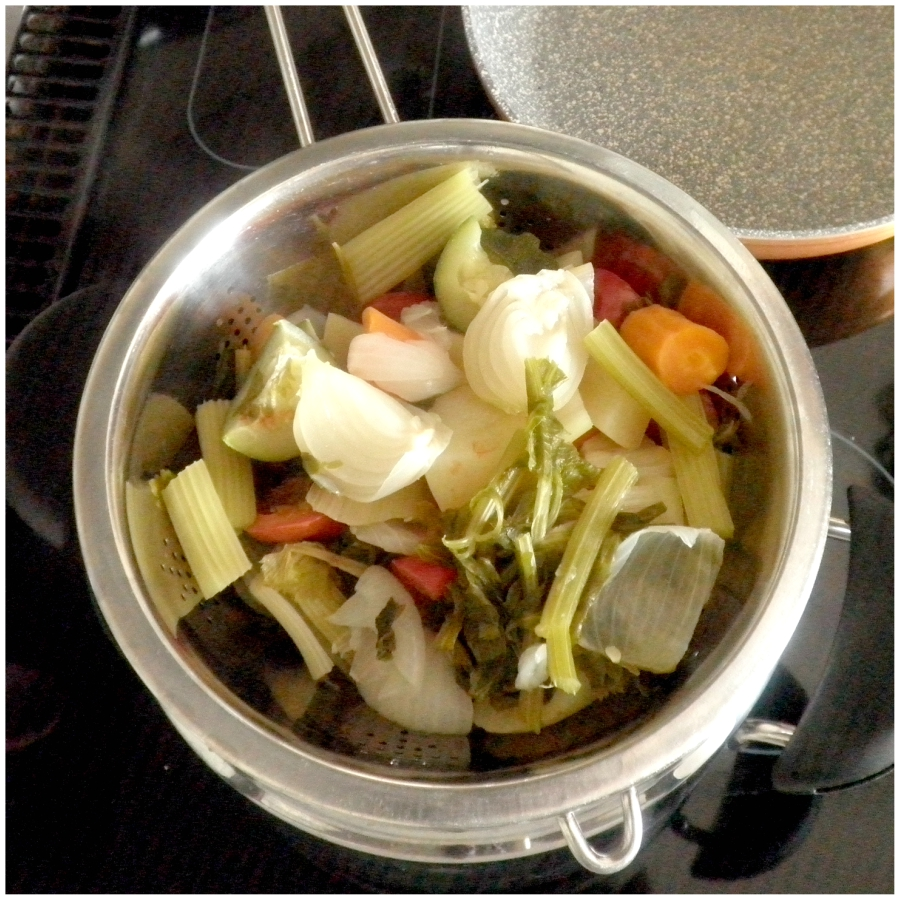 Preparando dado vegetale fatto in casa