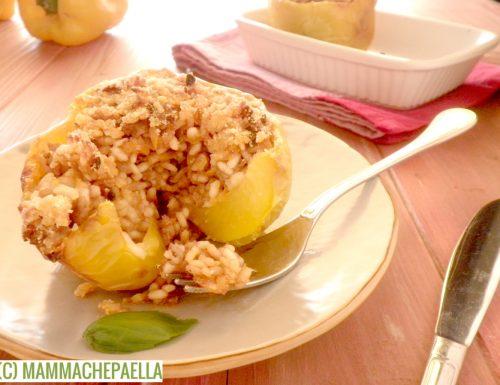 Peperoni ripieni al forno con riso e carne macinata